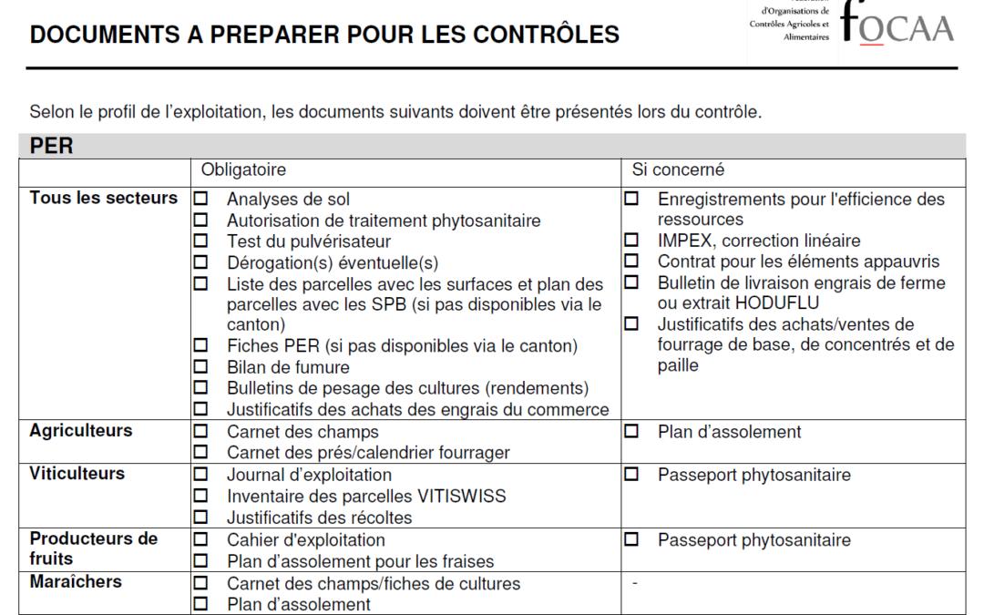 Liste des documents à préparer pour les contrôles